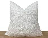 White Boucle Pillow Cover, Textured Super Soft Pillow Cover, Boucle Euro Sham Cover, Boho Home Decor, Bouclé Cushion All Sizes