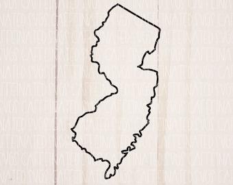 New Jersey SVG, New Jersey State SVG, New Jersey outline svg, New Jersey silhouette svg, New Jersey png, digital download, svg, png, eps dxf