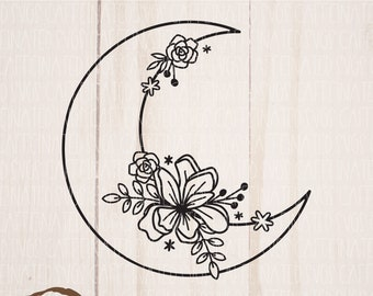 Crescent Moon SVG   Floral Moon SVG   Moon cut file   moon flower svg   moon svg   astrology svg   digital download   svg png dxf eps