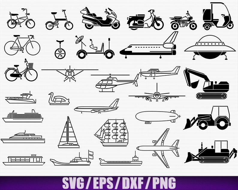 Motorbike Digital Excavator Svg Bicycle Svg Vehicles Package 2 Spaceship Vector Boat Silhouette Aircraft Svg Ozn SvgEpsPngDxf x31