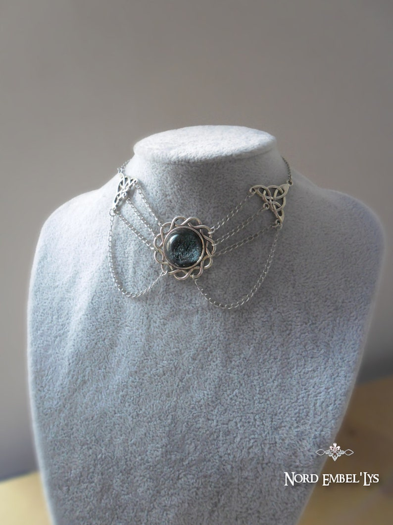 Celtic Choker Necklace in resin Night Walk