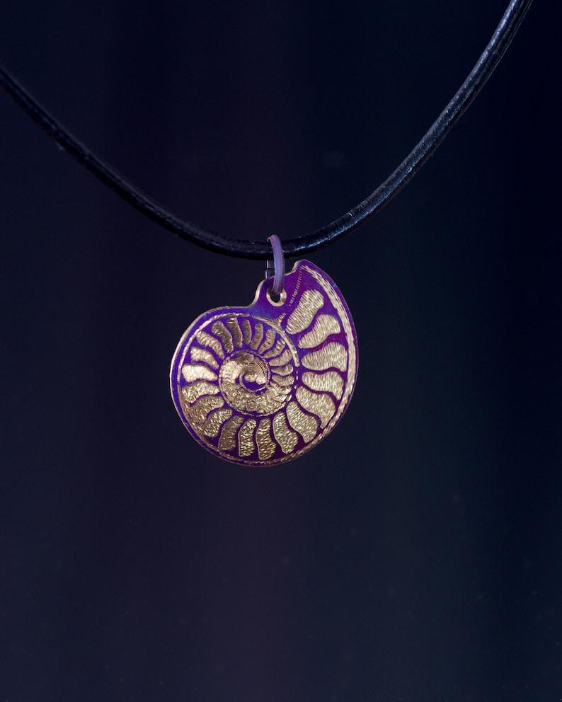 Titanium ammonite pendant anodized and guilloche engraved pendant purple and gold ammonite necklace