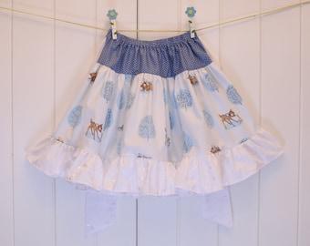 Vintage 1980/'s White Chiffon and Taffeta Skirt with Sash Tie Waist Size UK 6-10
