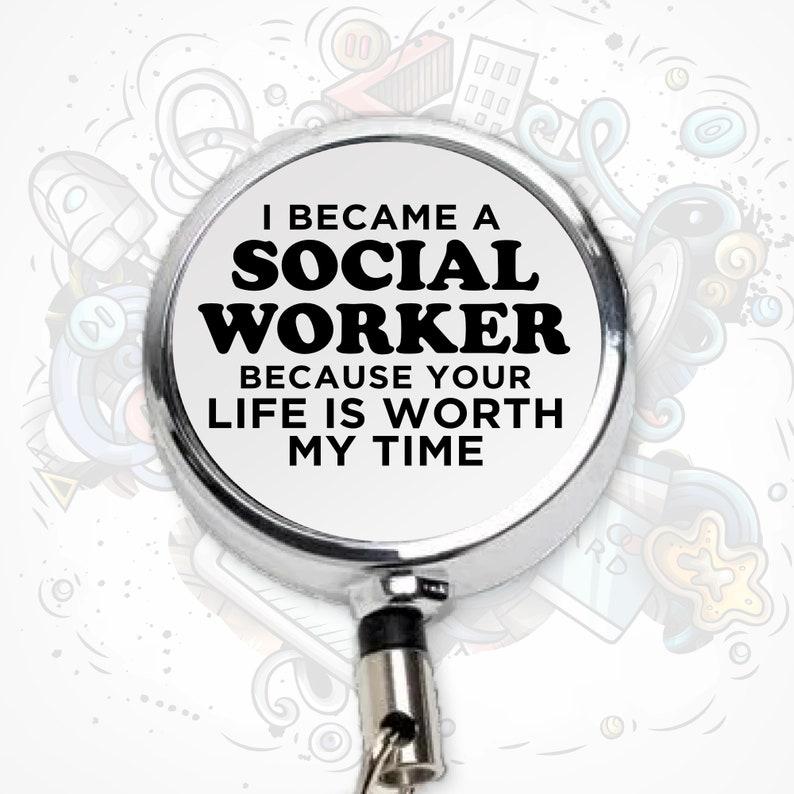 Social Worker ID Holder Social Worker Badge Retractable Badge Reel LCSW Badge Reel Social Worker Appreciation Gift Social Worker Month