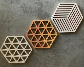 Geometric Hexagon | Cement | Coaster | Trivet | Tray | Custom Colours | Handmade | 2 styles | Triangle Lines | Cubic Lines | Nordic