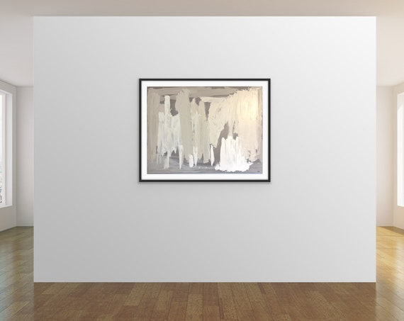 Original Large Abstract Art: Original Painting on Canvas, White Textured Wall Art, Modern, on Canvas, Original Painting