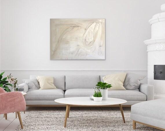 Large Minimalism: Abstract, Modern, White, Cream, Original Painting, Art on Canvas, Texture Wall Art