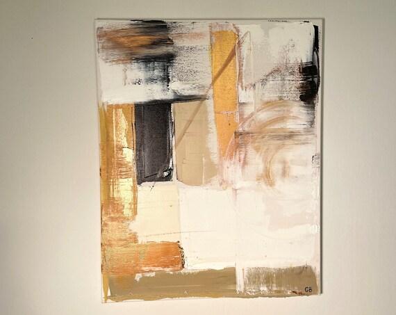 Abstract Original Painting: Textured Wall Art, Mini Wall Art, Modern, Gold, Copper, Black, White, Minimal