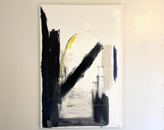 White Large Abstract Original Painting: Oversized, Texture, White on Canvas