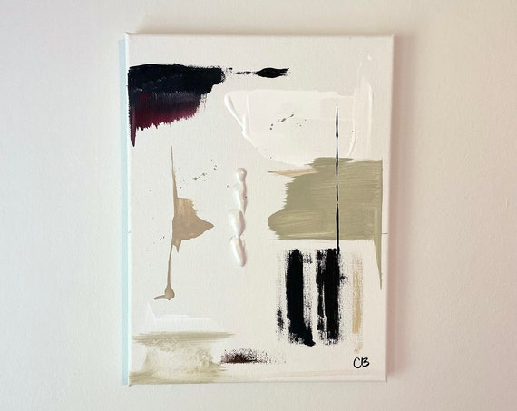 Mini Abstract Original Art: Minimal Black and White Painting, Canvas Painting, Small Textured Wall Art