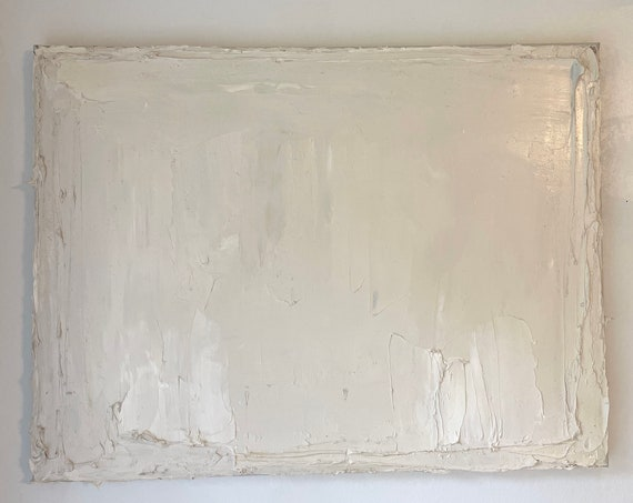 Original Abstract Art on Canvas. Contemporary Minimalism: Beige, White, Cream, Abstract, Painting, Textured