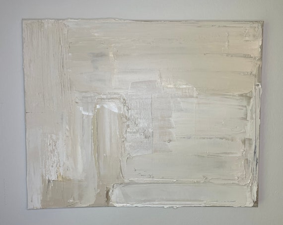 Textured Minimal Art: Abstract Wall Art, Original Painting on Canvas, White and Taupe Art