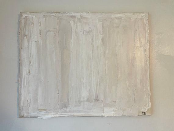 White Medium Minimalism: Abstract, White, Original, Textured, Wall Art on Canvas