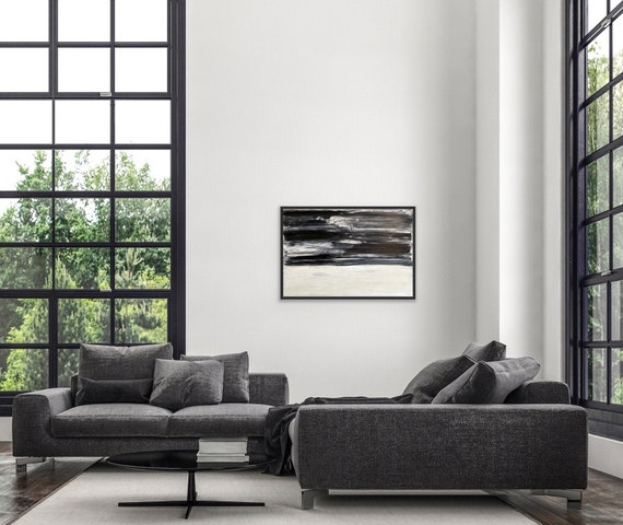 Original Abstract Black and White Large Painting: Textured, Oversized