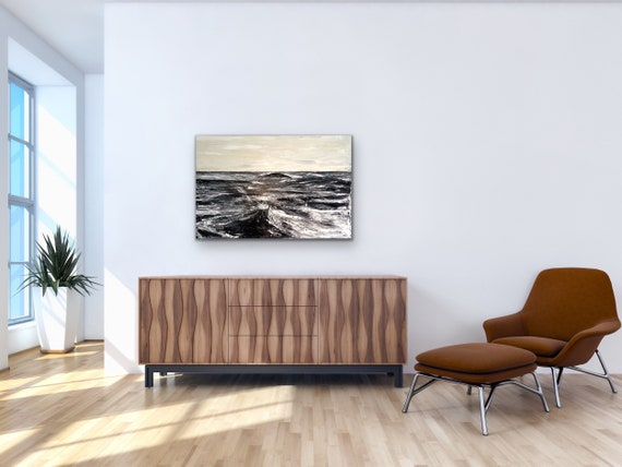 Rough Waters: Original Abstract Art, Black and White Large Painting.Textured and Oversized