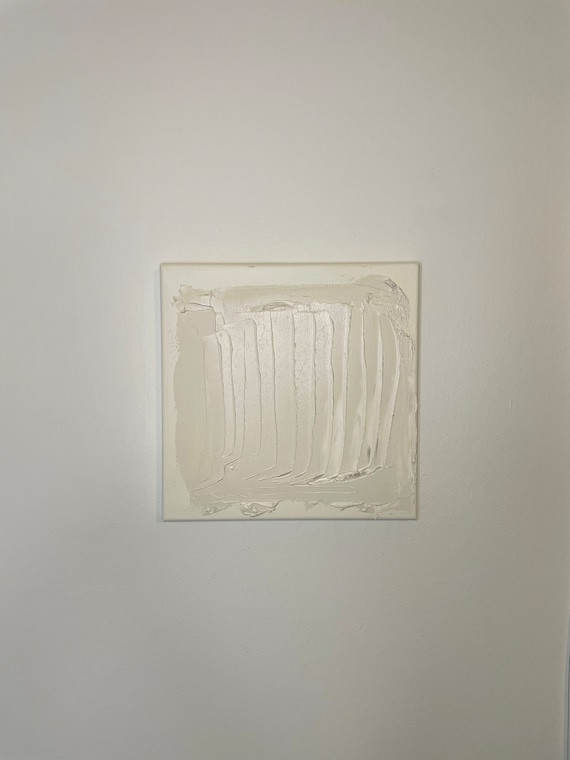 Fall Collection #7: Mini Minimalist White Abstract Art, Textured White Art, Original Painting on Canvas