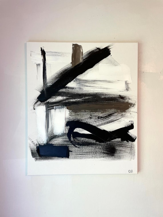 Abstract Painting: Original Art, Black and White, Textured, Minimal, Modern Art on Canvas