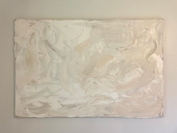 Large Abstract Original Art: Textured Wall Art, White Abstract Painting, Beige Painting, Cream Painting, Minimalism
