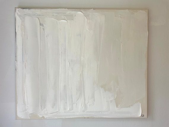 Abstract Art Original Painting: White, Cream, on Canvas