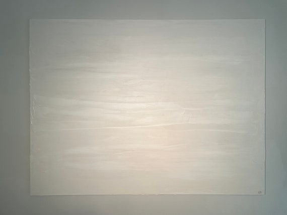 White Texture Original Painting Abstract Art: Painting on Canvas, White, Minimal, Contemporary Art, Texture Wall Art, Beige Painting