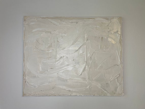 Textured White Art: Texture Painting on Canvas, Abstract, Contemporary White, Wall Art