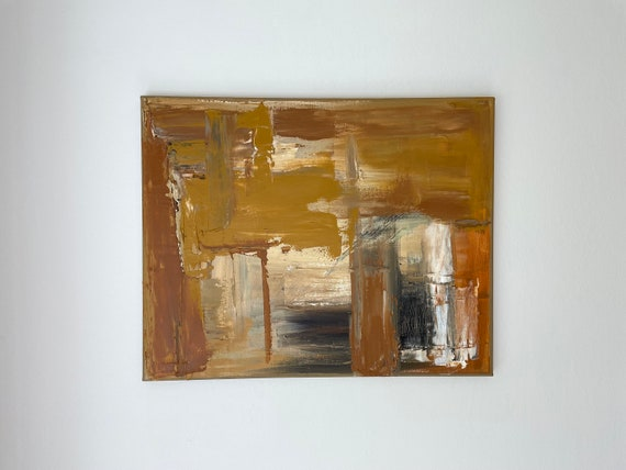 Abstract Original Beige Brown Cream Painting on Canvas: Textured Wall Art