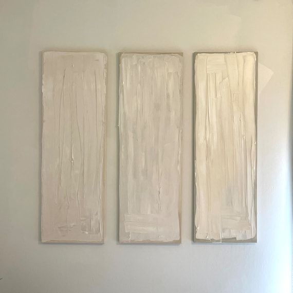 Textured Original Abstract Wall Art: Cream, Beige, Taupe Canvas