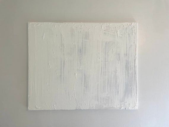 White Textured Abstract Art: Original Painting on Canvas