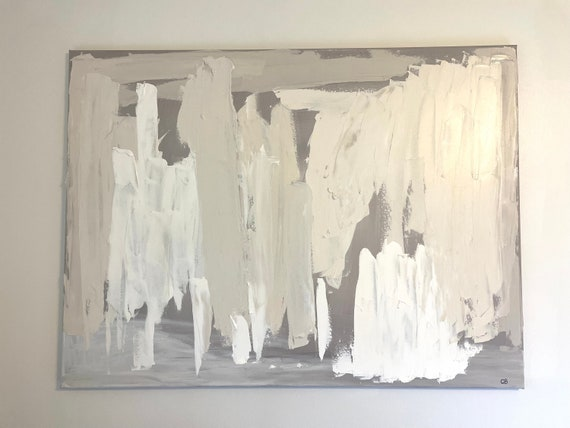 Original Large Abstract Canvas Art Painting: White, Texture, Modern, on Canvas, Original Painting