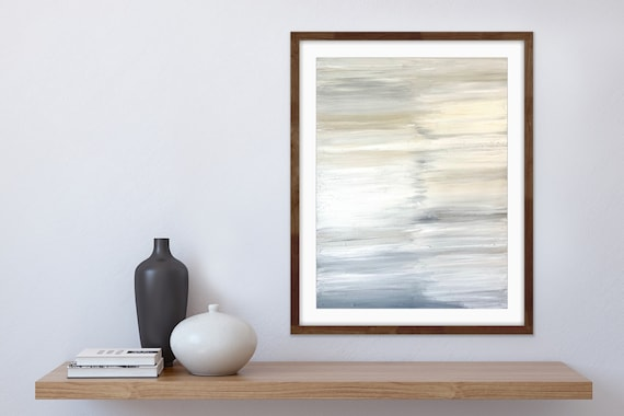 Abstract, Modern, Contemporary: Original Painting, on Canvas, White, Cream, Minimal
