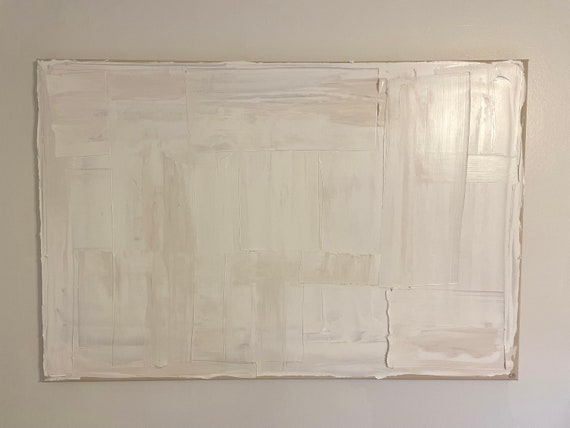 Abstract Canvas Art: Original Painting, Large/Oversized White, Textured
