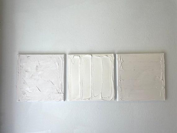 Mini Original Art, White Minimal: Abstract, Layered, Textured, Beige, Cream