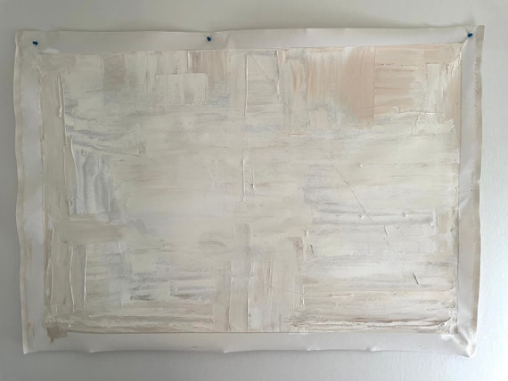 Large Abstract Original Painting: White, Cream, Beige, Minimal, Texture Wall Art