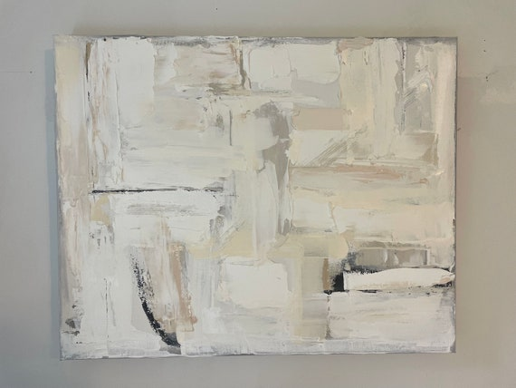 Original Abstract Painting, Texture Wall Art, Beige Painting, Taupe, Gray