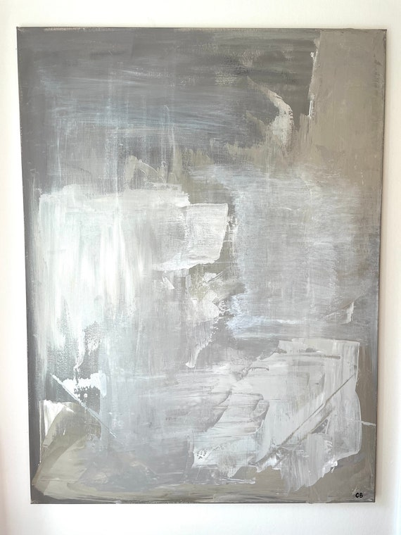 Large Original Abstract Art: Beige Painting, Cream Painting, Gray Textured Art