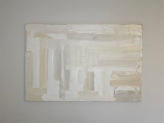 White Abstract Art #34. Textured White Art Minimalist, Oversized Large Original Painting, Beige Painting