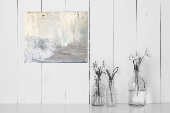 Abstract, Contemporary Beige, Cream, White: Neutral, Original, Art, Painting, Minimal and Modern