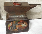 1911 Anvil biscuit tin Antique Macfarlane Lang anvil tin Farrier shoeing horse forging horse shoe. Collectible tin. Hudson Scott Sons