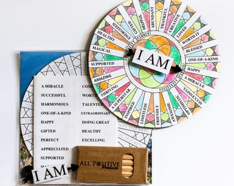 Delightful I AM Positivity Emotions Spinner Kit - Uplifting Positive Art Coloring Activity | Perfect Joyful Wheel Gift For Children & Adults
