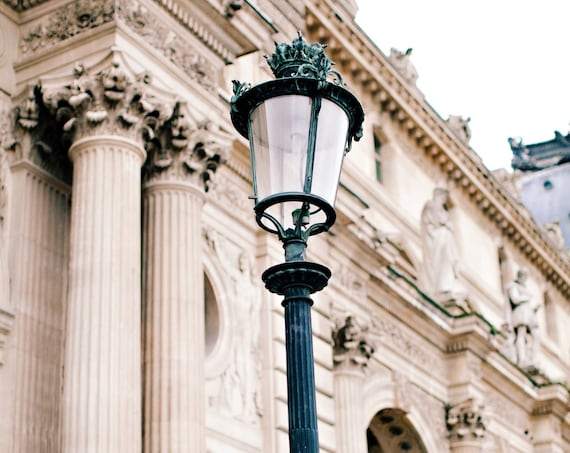 Paris photography, Paris street lamp photography, Louvre print, Travel photo print, Fine Art Photography print, Home Decor, House Warming