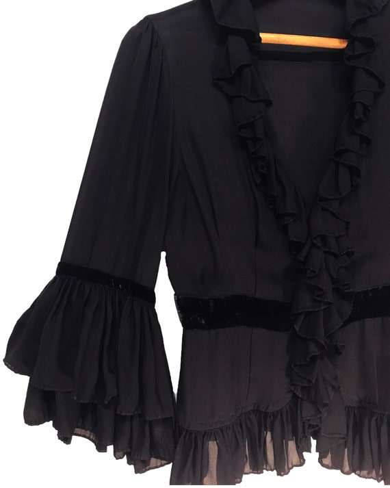 NANETTE LEPORE topper, black and sheer silk with … - image 3