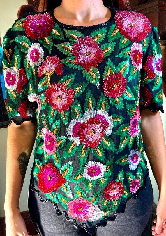 Vintage Floral Sequins Top