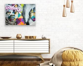 Unframed Native American Canvas Art, Indian Canvas Print, Boho Art Street Canvas, Graffiti Art Canvas, Large Canvas Print, Colorful Canvas