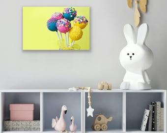 Lollipop Wall Art, Lollipop Wall Decor, Lollipop Painting, Nursery Wall Art, Nursery Wall Decor, Pop Art Canvas Art Print, Nursery Art Print