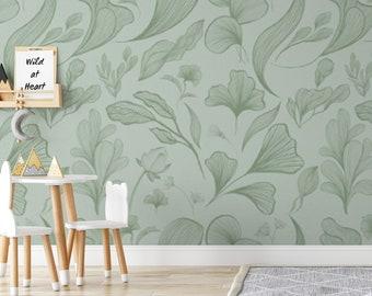 Green Flower Wallpaper, Retro Wallpaper, Peel And Stick Wallpaper, Boho Wallpaper, Floral Wallpaper, Vintage Wallpaper, Removable Wallpaper