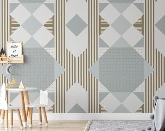 Geometric Grey Wallpaper, Vintage Peel and Stick Wallpaper, Boho Wallpaper, Art Deco Wallpaper, Removable Self Adhesive Wallpaper