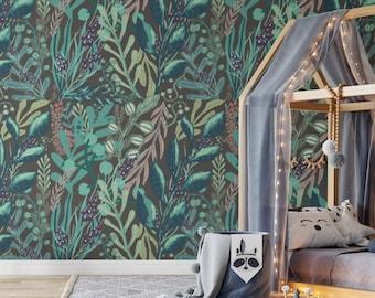 Tropical Leaf Wallpaper, Retro Vinyl Wallpaper, Temporary Green Wallpaper, Peel and Stick Wallpaper, Removable Wallpaper, Vintage Wall Decor