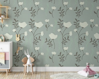 Green Floral Wallpaper, Peel and Stick Retro Wallpaper, Boho Wall Decor, Tropical Wallpaper, Flower Wallpaper