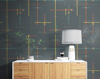 Retro Wallpaper, Grey and Colorful Wallpaper, Abstract Peel and Stick Wallpaper, Removable Boho Wall Decor, Vintage Vinyl Wallpaper
