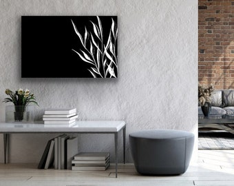 Black and White Leaf Wall Art, Black and White Canvas, Nature Wall Art Painting, Modern Canvas Art, Big Canvas Wall Art, Large Canvas Print